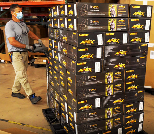 New Garrett Apex multi-frequency metal detectors prepare to ship from the company's Texas manufacturing plant.