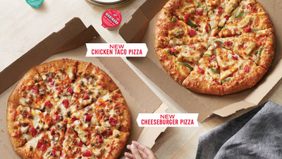 Domino's is now offering two new, delicious specialty pizzas: the chicken taco pizza and the cheeseburger pizza.
