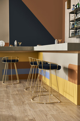 Maple Glaze, Jean Jacket Blue and Saffron Strands from the BEHR Color Trends 2021 Palette, featured in a commercial space.