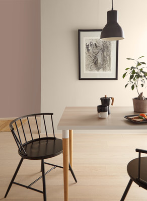 Almond Wisp and Modern Mocha from the BEHR Color Trends 2021 Palette featured in a kitchen.