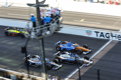 Takuma Sato (center) led a Honda sweep of the top four finishing positions at today's Indianapolis 500. Scott Dixon (#9, top) finished second, followed by Graham Rahal (#15) and Santino Ferrucci.