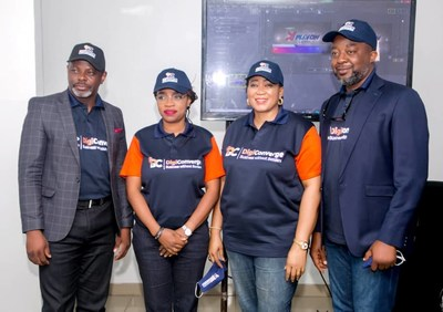 L-R: Mr Celestine Achi, Chief Executive Officer, DigiConverge Media; Mrs Thelma Okoh, Executive Director (Marketing & Communications), Mrs. Nkechi Ali-Balogun, Executive Director (Partnerships) and Mr. Victor Ezemobi, Executive Director (Business Development & Programming) in Lagos at the virtual media launch of DigiConverge Media