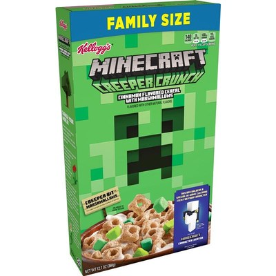 """New Kellogg's® Minecraft Creeper Crunch Cereal features tasty green squares of """"Creeper Bit"""" marshmallows that resemble Minecraft blocks. Each box includes a code that unlocks one of 10 unique in-game clothing items, offering players a fun way to personalize their characters' in-game style."""