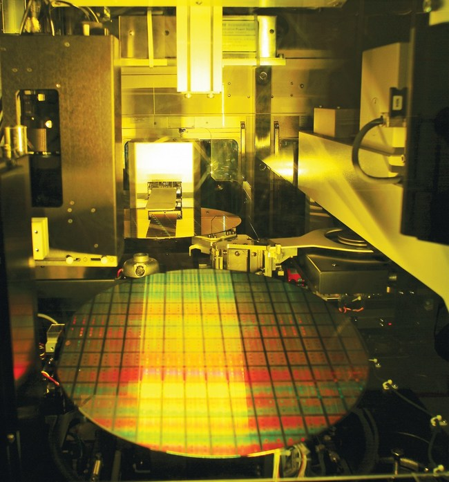 A 12-inch wafer being processed. Image courtesy of TSMC.