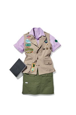 Official Girl Scout Apparel and Older Girl Uniform: Lilac Chambray Camp Shirt ($32), Olive Green Cargo Skirt ($32), Official Khaki Cargo Vest ($34). All items are available for preorder at girlscoutshop.com/gsstyle.