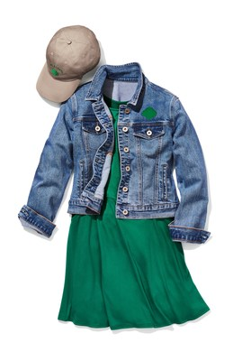 Official Girl Scout Apparel and Older Girl Uniform: Forest Green Skater Dress ($34) and Medium Wash Denim Jacket ($49). All items are available for preorder at girlscoutshop.com/gsstyle.