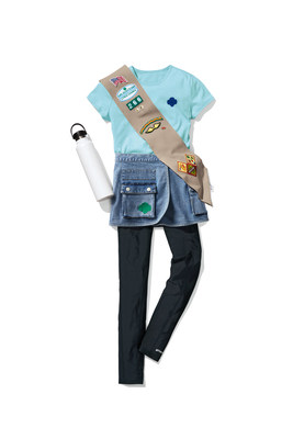 Official Girl Scout Apparel and Older Girl Uniform: Sky Blue Classic Trefoil T-Shirt ($20), Denim Utility Wrap Skirt ($32), Black Activewear Pocket Leggings ($29), and Official Khaki Pocket Sash ($14). All items are available for preorder at girlscoutshop.com/gsstyle.
