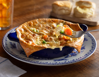 The Chicken Pot Pie, which features slow-simmered chicken, potatoes, peas, carrots, celery and onions in a creamy sauce topped with a signature flaky pastry crust, is now available every day in-store as well as for curbside, pickup or delivery at crackerbarrel.com.