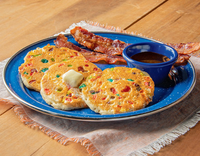Kids Mini Confetti Pancakes include three mini pancakes filled with fruity cereal served with syrup n' butter.
