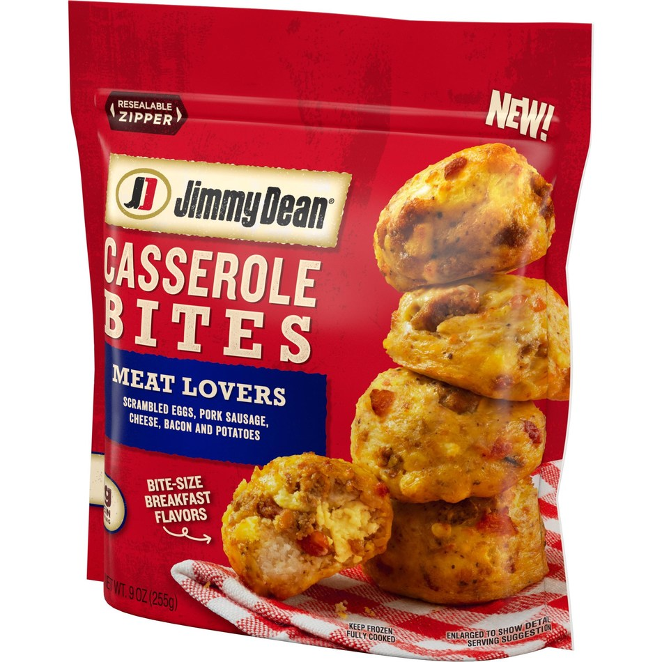 Available nationwide this fall, Jimmy Dean Casserole Bites Meat Lovers feature scrambled eggs, pork sausage, cheese, bacon and potatoes.