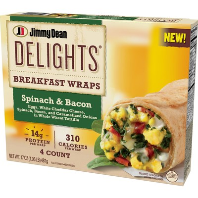 Available nationwide this fall, Jimmy Dean Delights Breakfast Wraps Spinach & Bacon feature eggs, white cheddar cheese, spinach, bacon, and caramelized onions in a whole wheat tortilla.