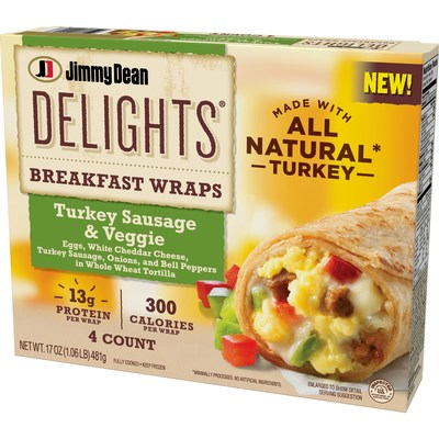 Available nationwide this fall, Jimmy Dean Delights Breakfast Wraps Turkey Sausage & Veggie feature eggs, white cheddar cheese, turkey sausage, onions, and bell peppers in a whole wheat tortilla.