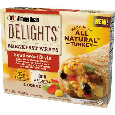 Available nationwide this fall, Jimmy Dean Delights Breakfast Wraps Southwest Style feature eggs, white cheddar cheese, turkey sausage, black beans, corn, onions, and bell peppers in a whole wheat tortilla.