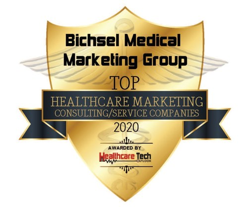 Healthcare Tech Outlook seal recognizing BMMG as a Top 10 healthcare marketing services company.