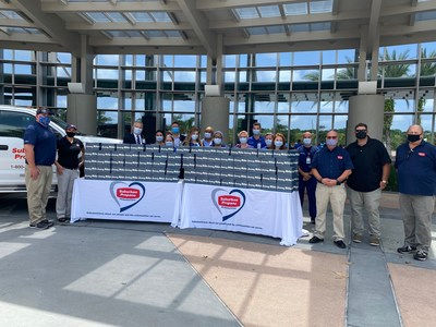 Representatives from Suburban Propane and Jersey Mike's Subs deliver 750 meals to healthcare staff at AdventHealth Wesley Chapel on August 25th.