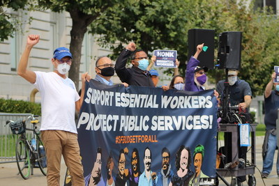 City workers rallying in front of SF City Hall