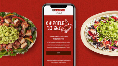 Chipotle IQ will test fans' knowledge of Chipotle's sourcing, ingredients, recipes, and sustainability efforts. The first 250,000 test takers who answer all 10 randomly selected Chipotle IQ questions correctly will receive a digital BOGO.