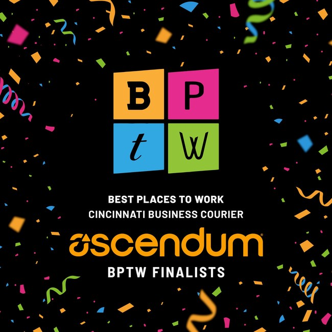 Ascendum Solutions, a global digital innovation firm, was named a finalist in the Cincinnati Business Courier's 2020 Best Places to Work (BPTW). The program recognizes companies and organizations in Greater Cincinnati that are setting the bar for how to keep employees happy and engaged. This year, the Business Courier also named Ascendum one of the top three Largest IT Companies in the Greater Cincinnati area.