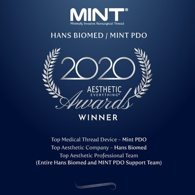 "HansBiomed USA makers of MINT PDO Wins ""Top Medical Thread Device"", ""Top Aesthetic Company"" and ""Top Professional Team"" in the Aesthetic Everything® 2020 Aesthetic and Cosmetic Medicine Awards"