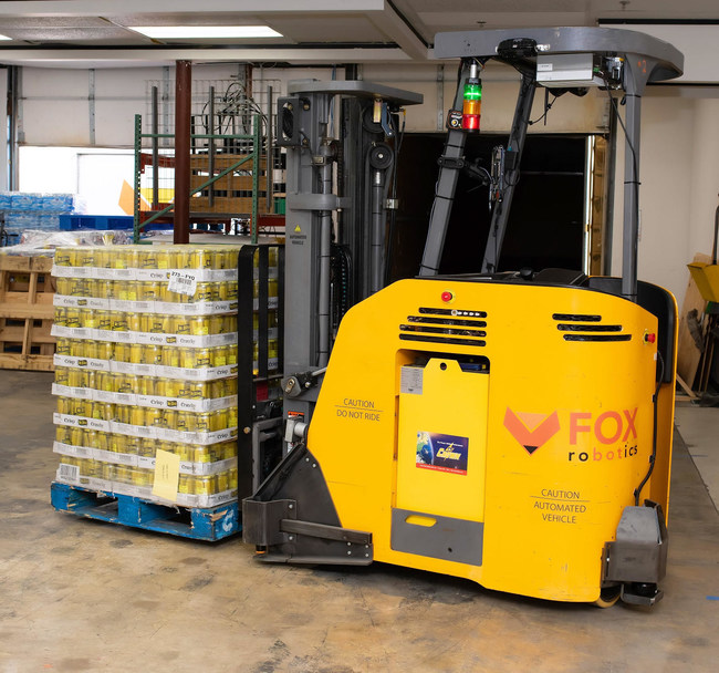 Fox's self-driving forklift is the only automated forklift capable of automatically unloading a trailer.