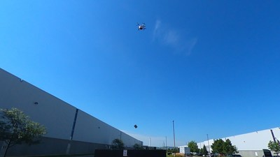 Drone Delivery Canada's new contactless, cargo-drop route from DSV to RB (Reckitt Benckiser) (CNW Group/Drone Delivery Canada)
