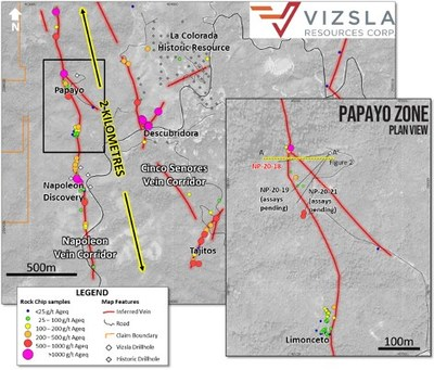 Plan map showing location of drill holes, mapped veins and surface and underground sampling at the Papayo prospect on the Napoleon vein system.  Inset shows detail of drill collar locations. (CNW Group/Vizsla Resources Corp.)