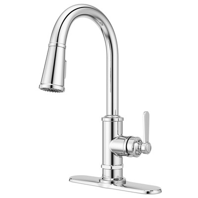 Pfister Port Haven Pull-down Kitchen faucet. Industrial design gives the Port Haven collection just enough edge to offset the oh-so-elegant, statuesque faucets that make a statement in your kitchen without ever uttering a word. These faucets are anything but ordinary. Keeping with the theme of popular trends, Port Haven thrives in modern rustic, modern industrial and eclectic traditional kitchen designs.