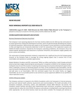 NGEx Minerals Reports Q2 2020 Results (CNW Group/NGEx Minerals Ltd.)