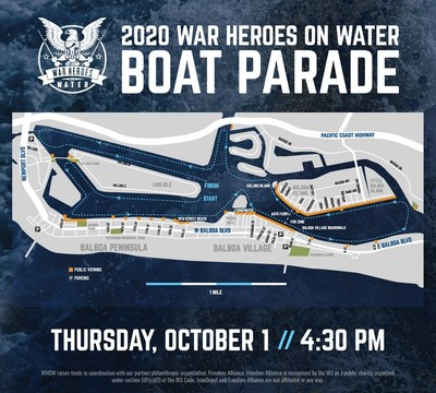 The War Heroes on Water 2020 Reunion Boat Parade will take place in Newport Harbor on Thurs., Oct. 1st beginning at 4:30pm PT. The public is welcome to participate either on boat or by viewing from land. Details can be found at: www.warheroesonwater.com.