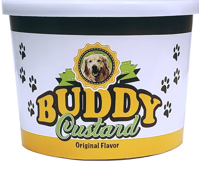 Buddy Custard is conveniently shipped frozen to be stored until ready to serve and comes in two flavor options: Original and Peanut Butter
