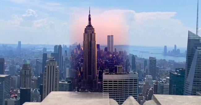 """From Rockefeller Center's """"Top of the Rock"""" observation deck, augmented reality reveals a bird's eye view of yesteryear as the World Trade Center's twin towers stand tall in the setting sun."""