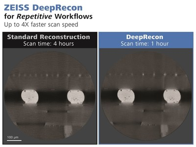 ZEISS DeepRecon uses custom-trained neural networks to enable higher throughput and success rates for FA and structural analysis applications involving repetitive workflows. It enables scans up to four times faster with similar or better image quality for designated sample classes compared to FDK, as well as superior image quality with low noise when using the same scan time. Shown here, standard FDK vs DeepRecon image reconstruction for a 2.5D package.