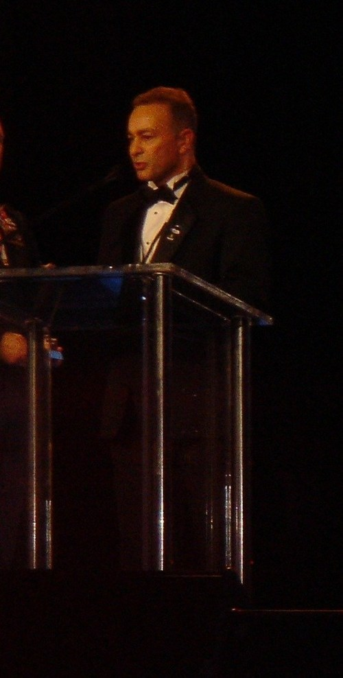 Jerry W. Torres speaks at the Republican Presidential Inauguration Ball in 2005.