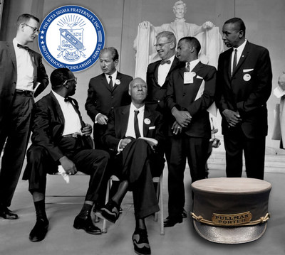 From Left: Mathew Ahmann, director of the National Catholic Conference for Interracial Justice; Cleveland Robinson, chairman of the Demonstration Committee; A. Philip Randolph, founder of the Brotherhood of Sleeping Car Porters, Rabbi Joachim Prinz, president of the American Jewish Congress; Joseph Rauh Jr., attorney; John Lewis, chairman of the Student Nonviolent Coordinating Committee; and Floyd McKissick, chairman of the Congress of Racial Equality.