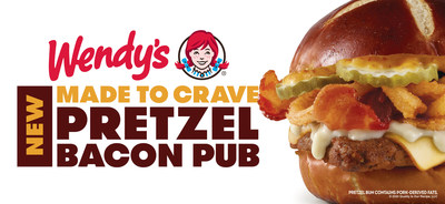 Wendy's Debuts Pretzel Bacon Pub Cheeseburger Packed with Applewood Smoked Bacon, Smoky Honey Mustard, Muenster Cheese, Warm Beer Cheese Sauce, Crispy Fried Onions and Pickles.