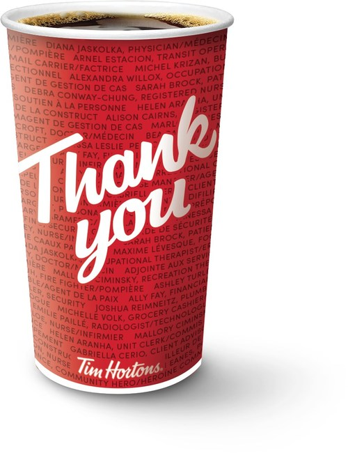 Tim Hortons pays tribute to Canadian heroes of the pandemic with new limited-edition Hero Cups, which feature the names of up to 100 real heroes on each cup (CNW Group/Tim Hortons)