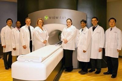 Radiation Oncology staff with the ViewRay Circa. 2014 (L to R: Harold Li, Ph.D., H. Omar Wooten, Ph.D., Jeffrey Olsen, M.D., Sharon Endicott, Olga Green, Ph.D.., Parag Parikh, MD.., Sasa Mutic, PhD., Yanle Hu, Ph.D.)