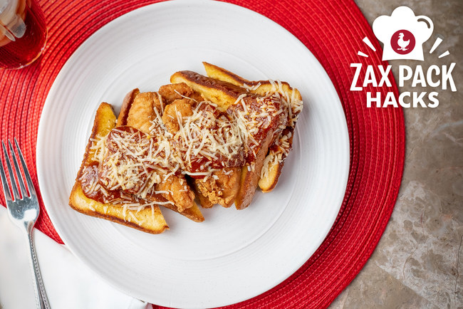 Chicken Parmesan on Texas Toast features Zaxby's famous Texas toast as a base plus Zaxby's Chicken Fingerz and marinara sauce cups. It's just one of three Zax Pack Hacks recipes.