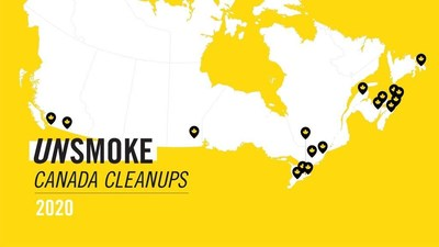 Unsmoke Canada Cleanups map (CNW Group/Rothmans, Benson & Hedges Inc.)