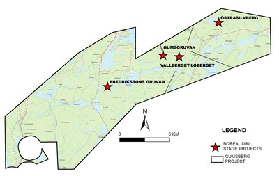 Figure 1. The major prospects on the Gumsberg Project, Southern Sweden. (CNW Group/Boreal Metals)