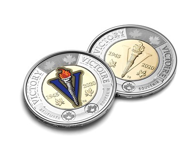 The Royal Canadian Mint's $2 circulation coin celebrating the 75th anniversary of the end of the Second World War (CNW Group/Royal Canadian Mint)