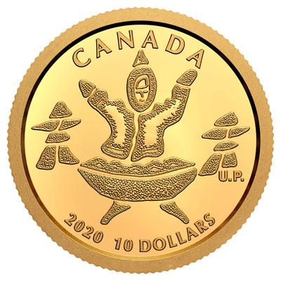 A moeda de ouro puro de Nunavut da Royal Canadian Mint (Um Inuq e Um Quliq) (CNW Group/Royal Canadian Mint)