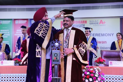 Chancellor Chandigarh University, Satnam Singh Sandhu inducting Prof. (Dr.) Parag Diwan as the new Vice-Chancellor of University during the investiture ceremony