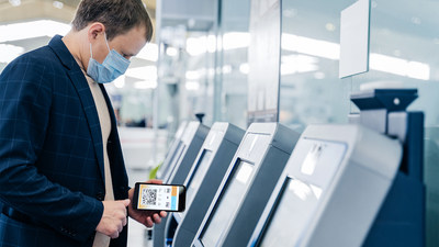 Collins Aerospace's new Kiosk Connect airport solution enables users to simply scan a QR code with their mobile device and then complete check-in process on their phones without ever touching the kiosk screen. (Photo courtesy Collins Aerospace)