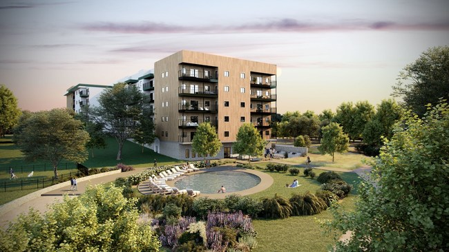 The Bend intends to provide residents with plenty of open space in high-density city living where typically the whole site is often developed. Amenities shown include a gem-pool dubbed 'The Bend Springs' with a sunning lawn, outdoor grills & dining, fitness studio, and lobby lounge.