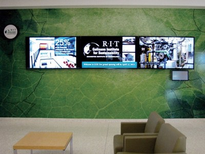 ID Signsystems has employed separate digital signs to convey temporary information. Digital, particularly for interiors is low cost and can easily separate from permanent signs. They can also be easily attached to kiosks and mobile systems.
