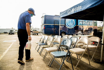 At some MCC locations, Allstate will collect basic information upon arrival and text the customer as soon as an adjuster is available instead of waiting in line. At locations with plenty of space, chairs are sanitized and placed 6 feet apart for waiting.