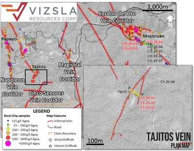 Plan map showing location of drill holes, mapped veins and surface sampling at the Tajitos prospect on the Cinco Senores Vein Corridor and Mojocuan prospect on the Cordon del Oro Vein Corridor.  Results are reported from holes in red.  Inset shows detail of Tajitos drill collar locations. (CNW Group/Vizsla Resources Corp.)