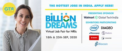 Global Talent Exchange hosts 'Billion Dreams' India's First Virtual Hiring Event Exclusively for NRIs