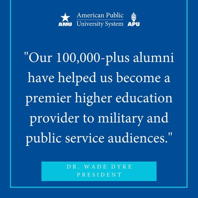 APUS is proud to have surpassed 100,000 alumni. APUS graduates are dynamic, service-minded professionals who are making a difference in their communities. This includes the U.S. Armed Forces, public service and the private sector.